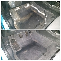 Steam cleaning of vehicle floors